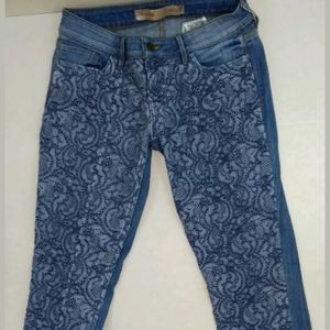 Guess laced blue tapered jeans 27x29